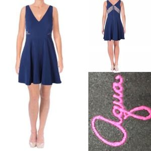 AQUA Crepe Lace Inserts cocktail Dress